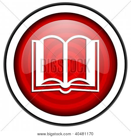 book red glossy icon isolated on white background