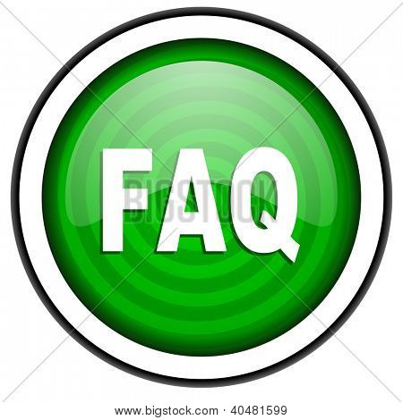 faq green glossy icon isolated on white background
