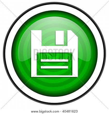 grün glänzend Diskettensymbol isoliert auf weißem Hintergrund
