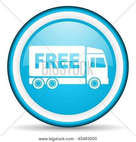free delivery blue glossy icon on white background