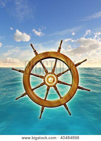 Rudder wheel over a sky and ocean background. Digital illustration.