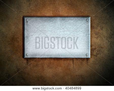 Metal plate on a concrete background. Digital illustration.