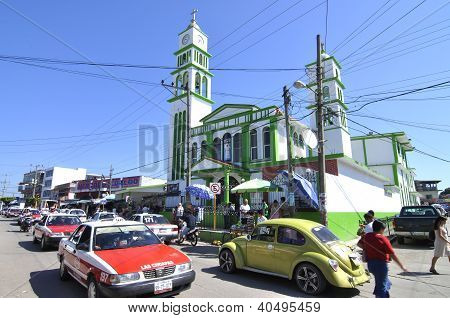 Busy Mexican Street And Church