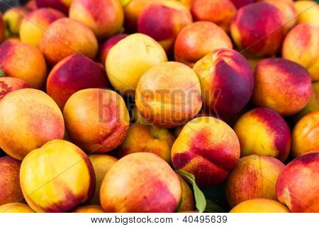 Group Of Colorful Nectarine Fruits From The Market