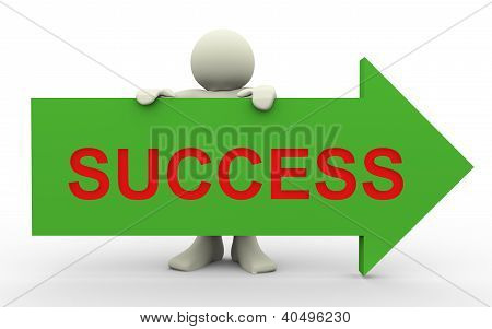 3D Man With Success Arrow