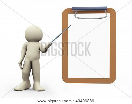 3D Person And Clipboard