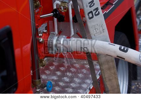Hose Attached To Firetruck