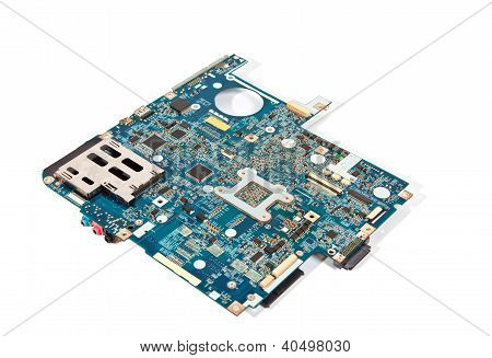 Blue Laptop Motherboard Isolated On White