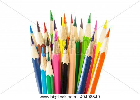 Color pencils isolated including clipping path