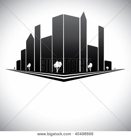 Downtown Buildings In B & W Of Modern City Skyline With Skyscrapers, Trees,  Tall Towers And Streets