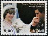 KOMI - CIRCA 1999: A stamp printed in Komi shows Prince Charles and Diana princess of Wales circa 19