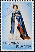 PITCAIRN ISLANDS - CIRCA1977: A stamp printed in Pitcairn islands shows a portrait of the Queen Eliz