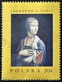 A stamp printed in Poland shows painting of Leonardo da Vinci - Lady with an Ermine