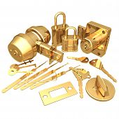 image of pick-lock  - gilded locksmith 3d - JPG