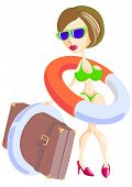 pic of lifeline  - drawing of a beautiful girl in a bathing suit and with a lifeline - JPG