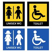 Stylized design of unisex and disabled toilet symbols.