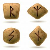 stock photo of seer  - Runes Engraved on Stone - JPG