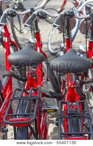 Parking Of The New Red Bicycles In Amsterdam, Europe