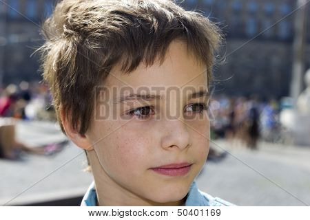 Closeup Portrait Of Pre-teen Boy Smiling