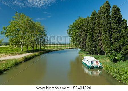 Old boat on the canal du midi, France
