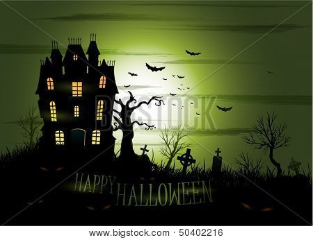 Greeny Halloween haunted house background eps 10