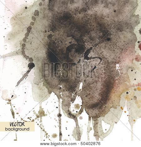 art background with watercolor stains, brown vector