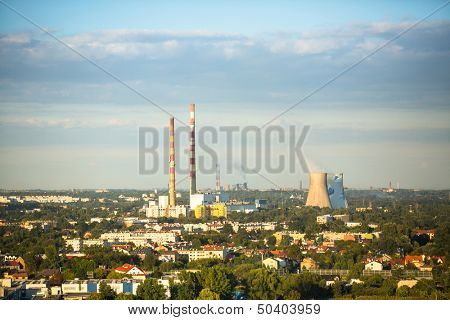 KRAKOW, POLAND - SEP 5: Top view of industrial district, Sep 5, 2013 in Krakow, Poland. As of 2013 Krakow is the 4th industrial city in the country, dominated metallurgy, tobacco and pharmaceuticals.