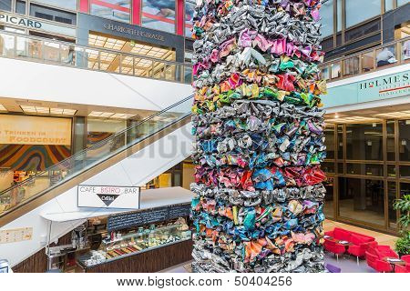 Berlin, Germany - July 24: Modern Art Of Metal Garbage Pieces In A Shopping Mall Near The Friedrichs
