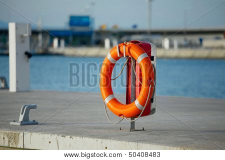 Lifebuoy in a dock