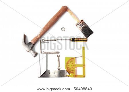 Do it yourself concept. House made from small tools