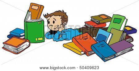 cartoon illustration of a little kid reading a book