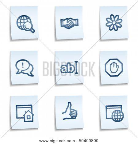 Internet web icons set 1, blue notes
