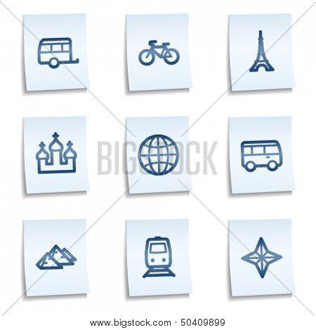Travel web icons set 2, blue notes