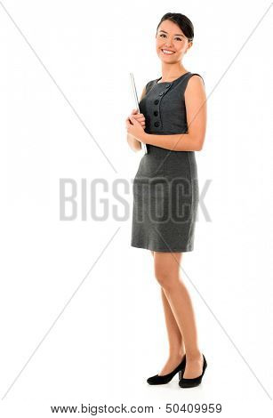 Business woman holding a laptop - isolated over a white background