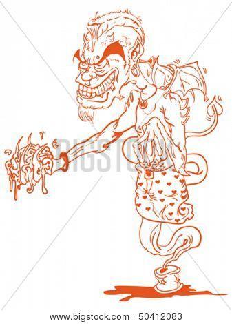 cartoon illustration of a devil genie holding a brain