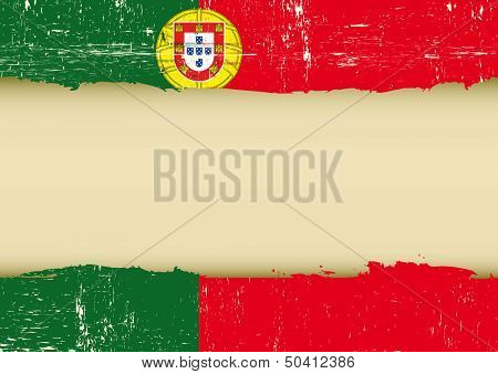 Portugal scratched flag. A used Flag for this poster