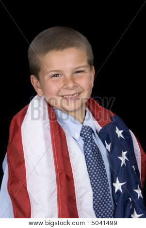 Boy With American Flag Around Shoulders