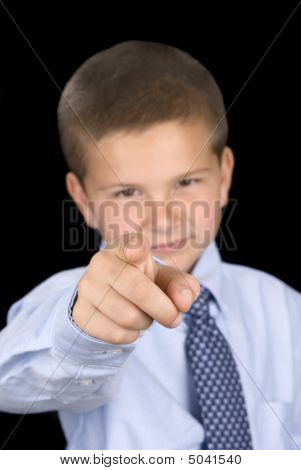 Boy Pointing With Index Finger