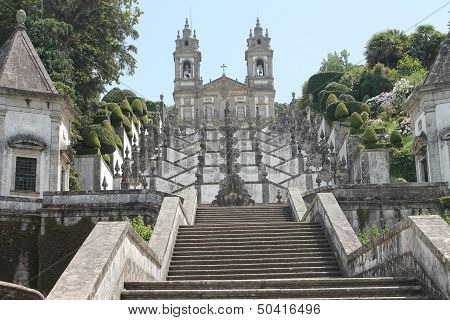 Bom Jesus do Monte sanctuary, Braga, Portugal - a magnificent baroque stairway leads to the neoclass