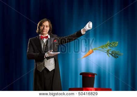 Image of magician taking carrot out of magic hat