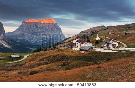Gardena Valley And Sassolungo (langkofel) In Dolomites