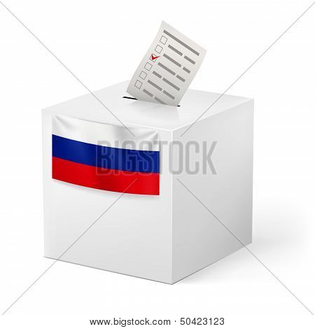 Ballot box with voicing paper. Russia.