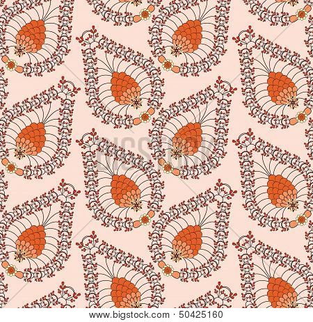Orange Pattern Made Of Small Leaves