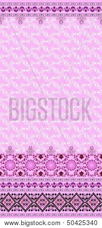 pattern with bells and a wide border on a pink background