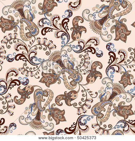 Paisley With Bells On A Beige Background