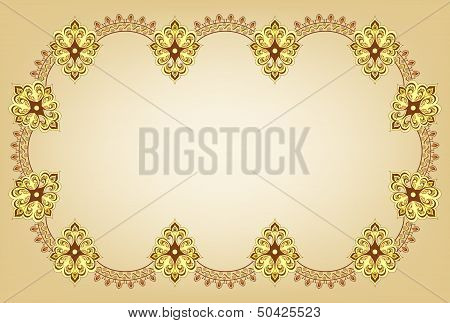 curly frame on a beige background in oriental style