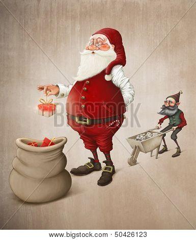 Santa Claus Prepares Gifts