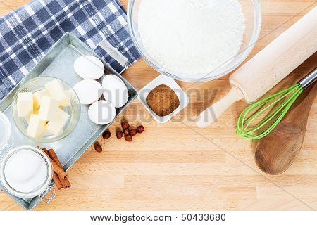 Baking Ingredients And Tools From Top