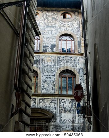 Typical Ornate Facade Of A Florentine Palazzo. Florence, Italy