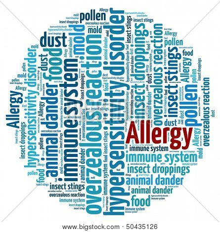 Allergy in word collage